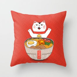 Liter of Ramen. Japanese soup and Manekineko cat. Throw Pillow