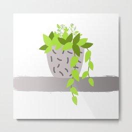 Flowers Branch Minimalism Vase Metal Print