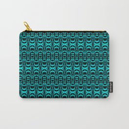Abstract Pattern Dividers 07 in Turquoise Black Carry-All Pouch
