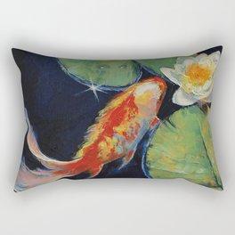 Koi and White Lily Rectangular Pillow