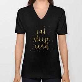 Eat, Sleep, Read (Stars) - Gold Unisex V-Neck