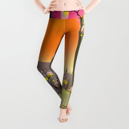 cartoon Japanese garden Leggings