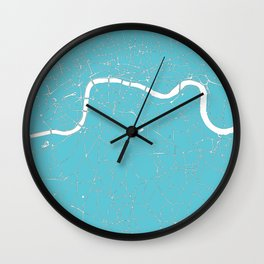 London Turquoise on White Street Map Wall Clock