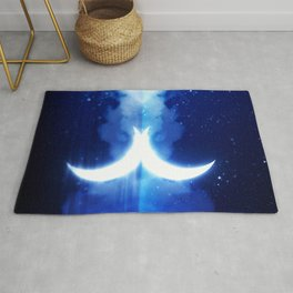 Crescent Moon over blue Starry Sky Rug