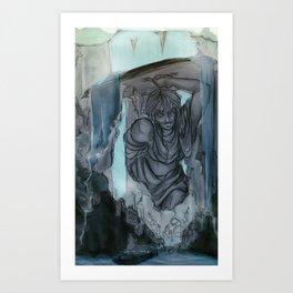 Waterfall Village Art Print