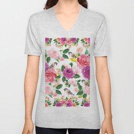 Colorful orange purple pink watercolor bird floral pattern Unisex V-Neck