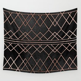 Chic & Elegant Faux Rose Gold Geometric Triangles Wall Tapestry