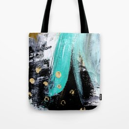 Fairy Dreams: an abstract mixed media piece in black, white, teal, and gold Tote Bag