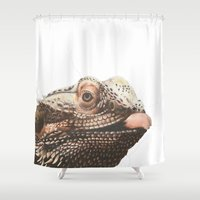 transparent Shower Curtains featuring Transparent Beardie by Megan Coyne