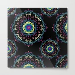Abstract mandala-pattern on the black background Metal Print