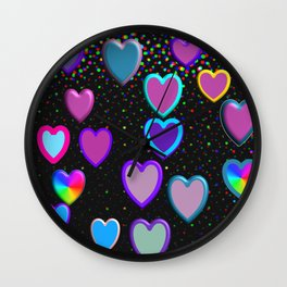 Confetti Hearts Wall Clock