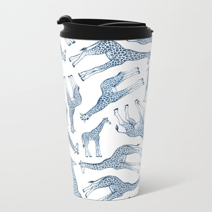 Navy Blue Giraffes on White Metal Travel Mug