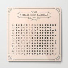 Vintage Moon Calendar 2017 Metal Print