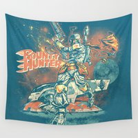 stickers Wall Tapestries featuring BOUNTY HUNTER by BeastWreck