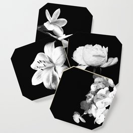 White Orchids Black Background Coaster