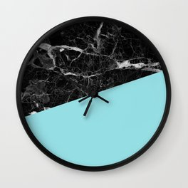 Black marble and island paradise color Wall Clock