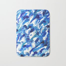 Turbulent Waves Original Abstract Oil Painting on Canvas, Blue, Silver 8x10in Bath Mat