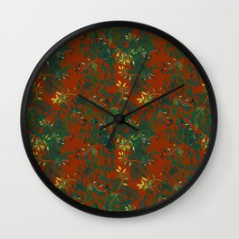 Leafy Madness on Brown Wall Clock
