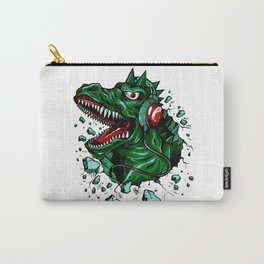 Dino with Headphones Green British Racing Carry-All Pouch