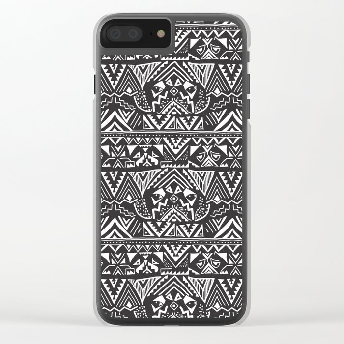 Pug  Tribal Clear iPhone Case