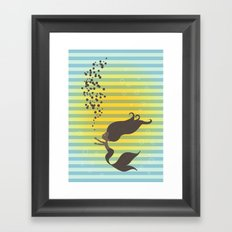 Black Mermaid Framed Art Print