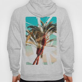 Modern summer tropical palm trees seascape photography white abstract geometric brushstrokes paint Hoody