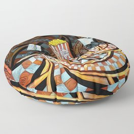 Night at the Route 66 Drive-In Movie Theater Floor Pillow