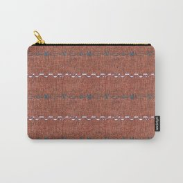 Texture Brown Grey White Aztec Inspired Stripes Carry-All Pouch