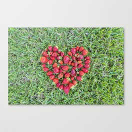 Heart made of strawberries with grass in the background Canvas Print