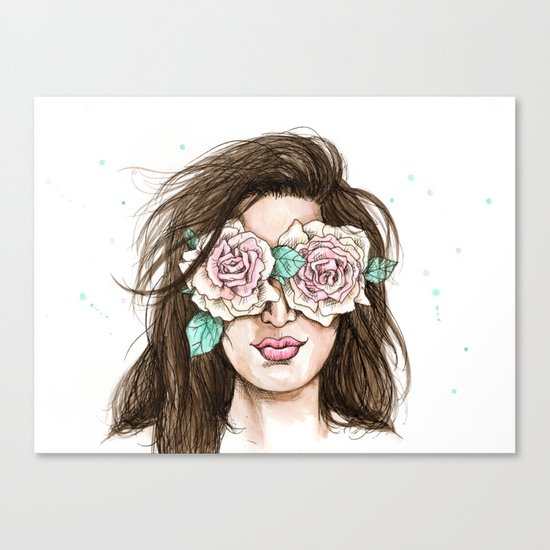 white roses in their eyes (female version) Canvas Print