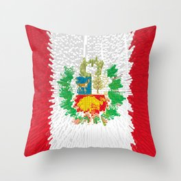 Extruded flag of Peru Throw Pillow