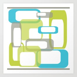 Mid-Century Modern Rectangle Design Blue Green and Gray Art Print