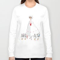 mary poppins Long Sleeve T-shirts featuring Mary Poppins by AmadeuxArt