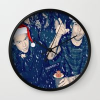 larry stylinson Wall Clocks featuring Larry Stylinson Funny Cookie Christmas by girllarriealmighty