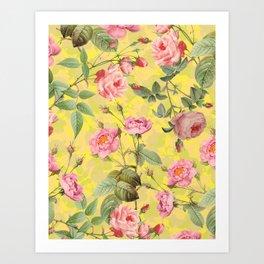 Vintage & Shabby Chic - Summer Yellow Roses Garden Art Print