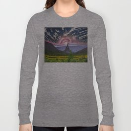 Oil paint on canvas painting of a fantasy landscape with a castle, mountains, cloudy sky Long Sleeve T-shirt
