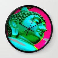 buddah Wall Clocks featuring Buddah Head 05; Pink Dachori by Kether Carolus