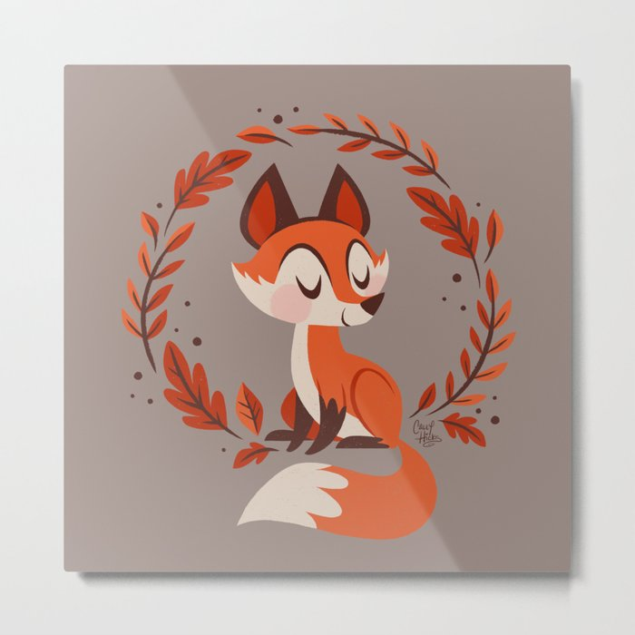 Cute Foxes Metal Print