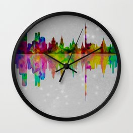 Colorful Moscow skyline  007 04 Wall Clock
