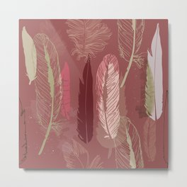 Feather Pattern in Marsala Wine Metal Print