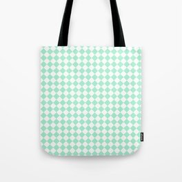 White and Magic Mint Green Diamonds Tote Bag