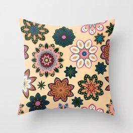 Flower retro pattern. Green pink flowers on beige background. Throw Pillow
