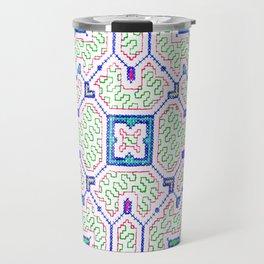 The Song to Support Spiritual Growth - Traditional Shipibo Art - Indigenous Ayahuasca Patterns Travel Mug