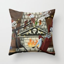 Christmas With the Skellington Family Throw Pillow