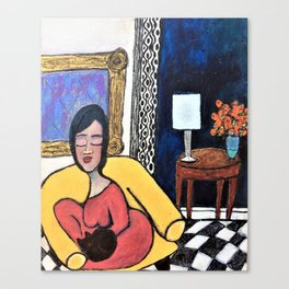 Woman with cat Canvas Print