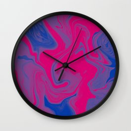 Bisexual Pride Abstract Marbled Colors Wall Clock
