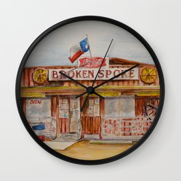 The Broken Spoke - Austin's Legendary Honky-Tonk Watercolor Painting Wall Clock