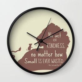 No Act of Kindness, no Matter How Small is Ever Wasted - The Lion and the Mouse Wall Clock