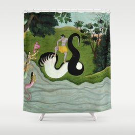 Kaliya's wives praying to Krishna landscape River Ganges painting of India Shower Curtain