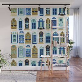 Moroccan Doors – Blue & Gold Palette Wall Mural